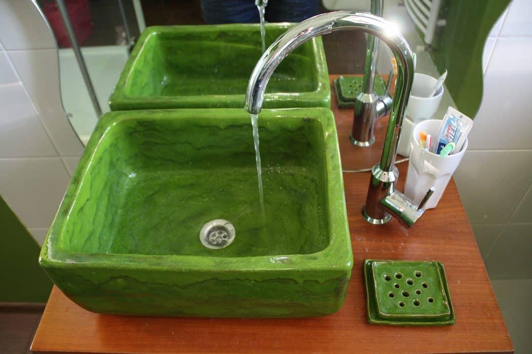 Malowana Umywalka Nablatowa - zielone umywalki