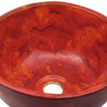 Nablatowa umywalka w kolorze czerwonym
