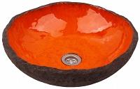 Polmira - pomarańczowa umywalka o nieregularnym kształcie